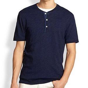 Vince Men's Navy Blue Cotton Short Sleeve Henley